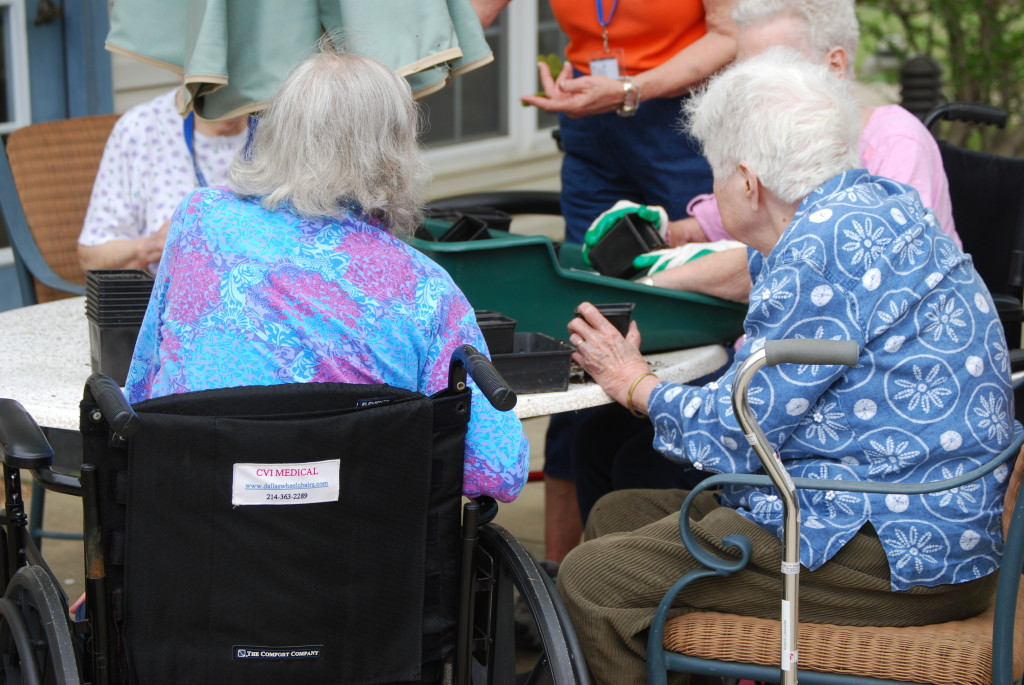 Therapeutic Horticulture - tips on engaging elder clients outdoors - sowing seed